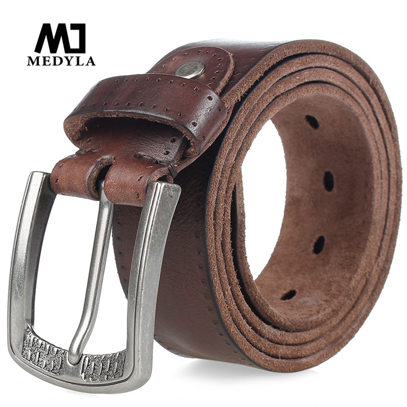 MEDYLA Men Belt 100 Cowhide Alloy Pin Buckle Blue Color Personality Choice Cowhide Male Strap Jeans