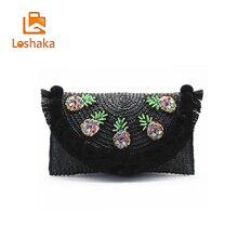 LOSHAKA Straw Knitting Bags Women Messenger Bohemian Style Women Shoulder Bags Luxury Handbags Women Bags Designer Bolso MUJER