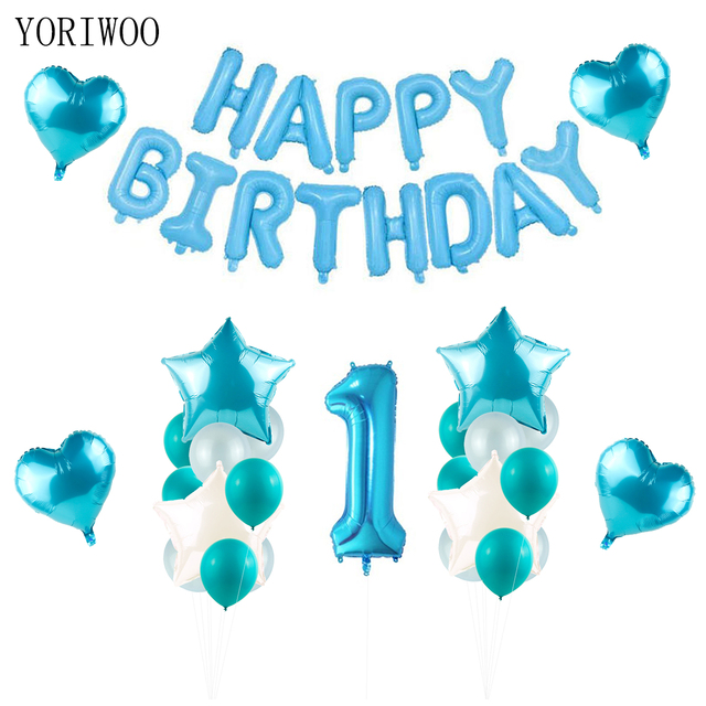 YORIWOO Baby Boy Girl 1st Birthday Number Foil Balloons Cake Topper Happy Party Decorations Babyshower Kids First