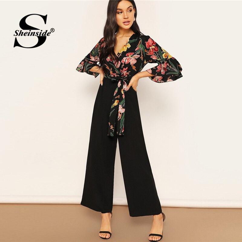 Sheinside Elegant Floral Print Wrap Wide Leg Jumpsuit Women Spring Flounce Sleeve Jumpsuits 2019 Spring Casual V Neck Jumpsuit