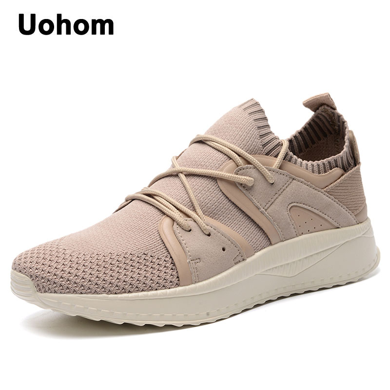 Uohom 2018 New Fashion Mens Casual Mesh Shoes Breathable Summer Flats Shoes Lightweight Lace-up Footwear Shoes zapatos hombre fashion high top mens genuine leather work casual shoes lace up tenis flats footwear breathable male shoes punk zapatos hombre