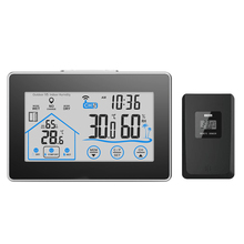 Buy online Weather Station Temperature Humidity Meter Sensor Hygrometer Digital Thermometer Indoor Outdoor Wireless Touch LCD Clock