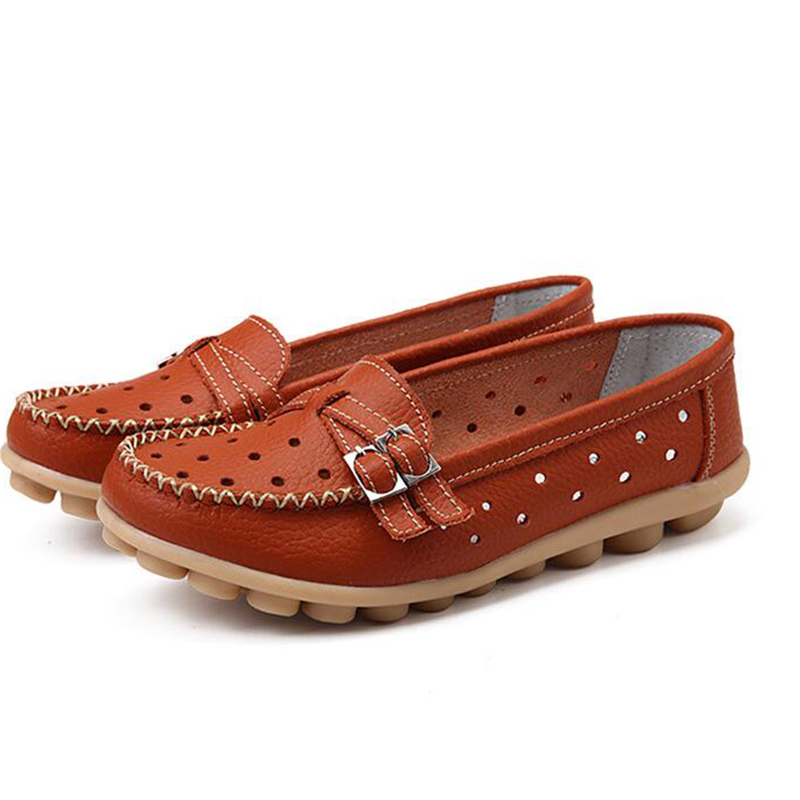 цены  2017 Shoes Woman Genuine Leather Women Shoes Flats 5 Colors Buckle Loafers Slip On Women's Flat Shoes Moccasins Plus Size 35-41