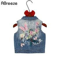 Children Girls Outerwear Spring Autumn Kids Denim Clothes Girl Children Floral Betterfly Embroidered Coat Cowboy Waistcoats
