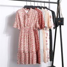 6 Styles Polka Dot Dress Summer Chiffon Print Korean Vintage Elegant Floral Dress Women Cherry Bow Fashion Ruffle Vestidos Mujer elogy dress with bow and polka dot print printed