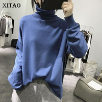 [XITAO] Pullover Women 2019 Spring Summer Korea Fashion New Turtleneck Full Sleeve Solid Color Casualknitted Sweater DLL1393