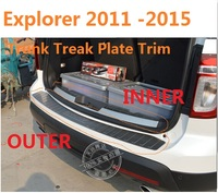 Car Accessories Rear Bumper Protector Tail Tailgate Trunk Guard Sill Plate Scuff Trim fit for Ford EXPLORER 2011 2015