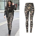 Women's High Waist Stretchy Knee Hole Ripped Beggar Camouflage Skinny Pencil Pants Casual Full Length Plus Size Pants