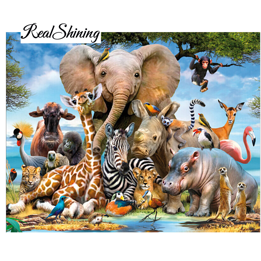 Needlework Diy Diamond Painting Kit 5D Diamond Embroidery Elephant Forest Full Rhinestone Cross Stitch Diamond Painting DP982