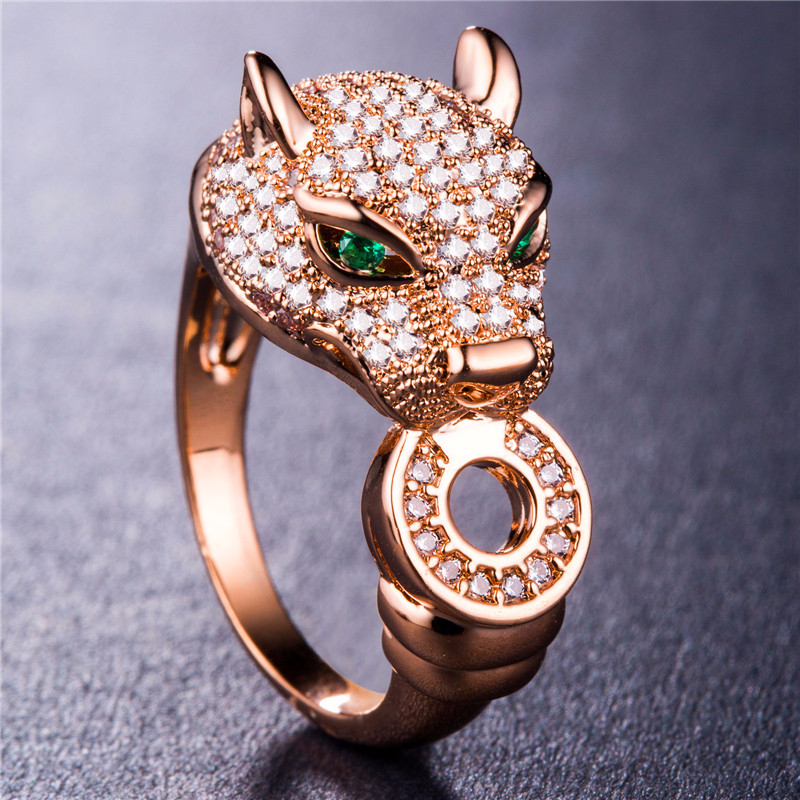 925 silver jewelry rings Rose Gold Costume Jewelry Morgan Stone Cheetah head gold-plated zircon ringen crystalB964