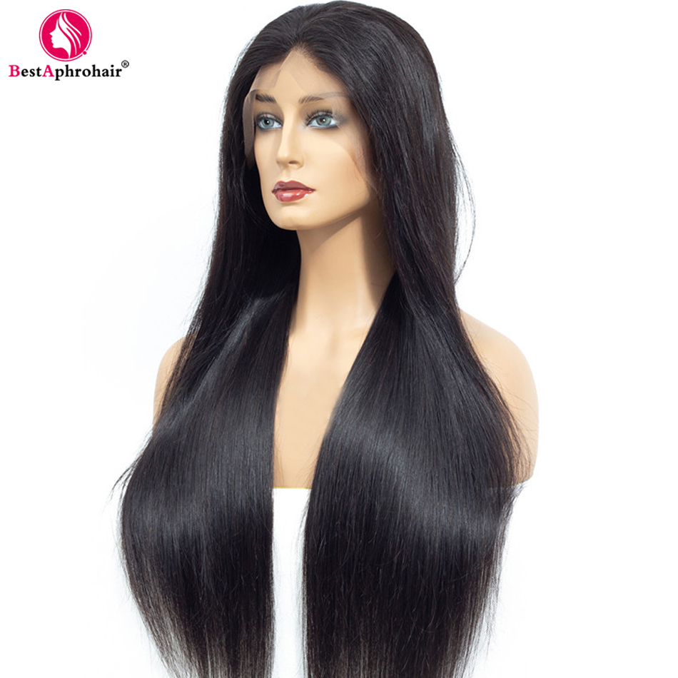 Aphro Straight 360 Lace Frontal Wig Pre Plucked With Baby Hair Brazilian Glueless Remy Human Hair Wigs 10-24inch Natural Color(China)