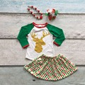 baby girls Christmas clothes girls reindeer top with polka dot skirts baby girls boutique Christmas outfits with accessories