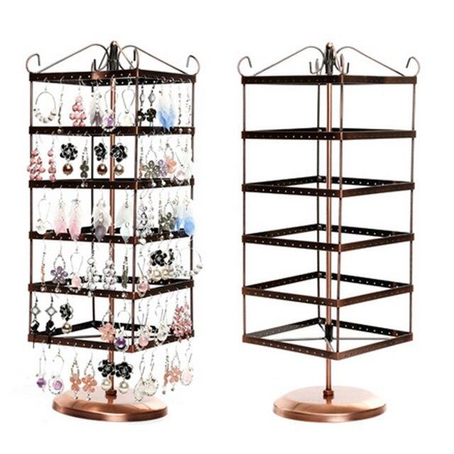 6 Layers 288 Holes Metal Jewelry Display Shelf Rotatting Earring Rack Older Worlde Type