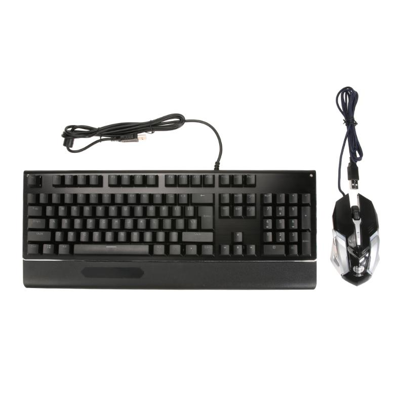 цена на USB Wired 104 Keys Blue Switch Mechanical Keyboard with Wrist Rest + 800/1200/2400/3200DPI 6 Buttons Wired Game Mouse Kit