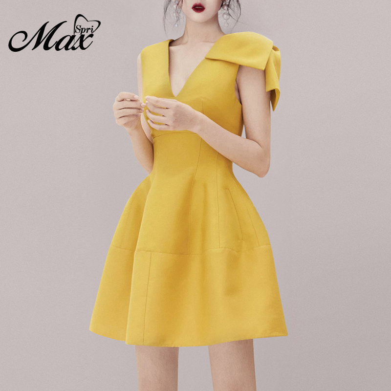 Max Spri 2019 New Fashion Sexy V Neck Bow Details Sleeveless A-Line Women Office Wearing Solid Party Club Mini Dress Yellow