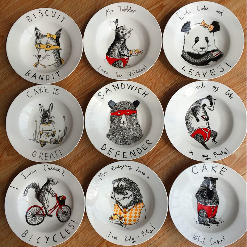 guci European Style 8*inch Dia Bone China Ceramic Flat Plates Cartoon Pattern Porcelain Tableware Salad Sushi Cake Dinner Plate-in Dishes u0026 Plates from Home ... & guci European Style 8*inch Dia Bone China Ceramic Flat Plates ...