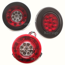 MIZIAUTO 2PCS Tail lights 12V Stop Brake Running Backup Light For Truck Trailers Round LED Red
