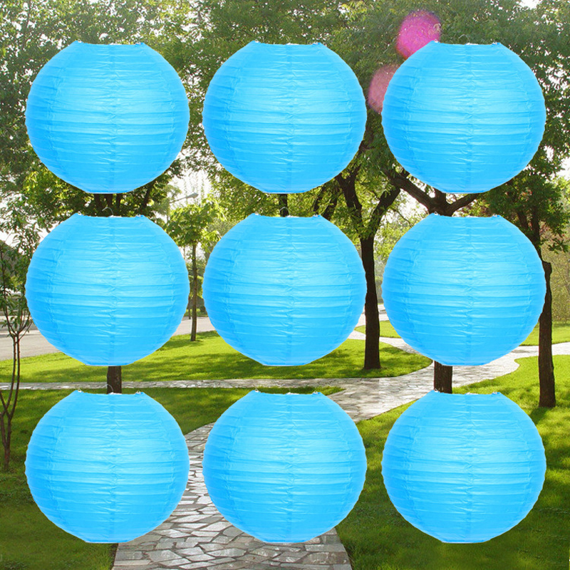 10pcs lot 6 16 inch Light Blue Chinese paper lantern For Wedding     10pcs lot 6 16 inch Light Blue Chinese paper lantern For Wedding decoration  Hanging Lanterns lampion Wedding Party supplies
