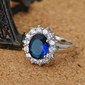Synthetic Sapphire Jewelry Princess Engagement Ring Blue Synthetic Sapphire Ring White Gold Plated with aaa Cubic Zirconia Halo