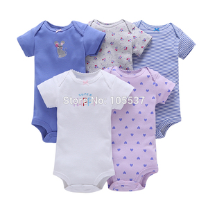 Image 5 - new born baby girl clothes sleeveless rompers summer 2019 costume boy romper newborn jumpsuit toddler clothing unisex 5pcs/set
