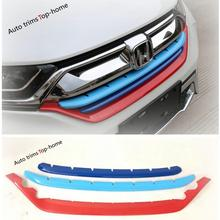 Yimaautotrims Front Grille Grill Strip Cover Trim Fit For Honda CRV CR-V 2017 2018 2019 / Chrome Colorful ABS Carbon Fiber