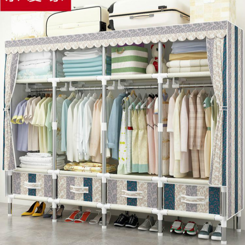 Cloth Wardrobe Simple Cloth Drawer Wild Assembly Storage Wardrobe Steel Thicken Double Storage Rack Hanging Wardrobe