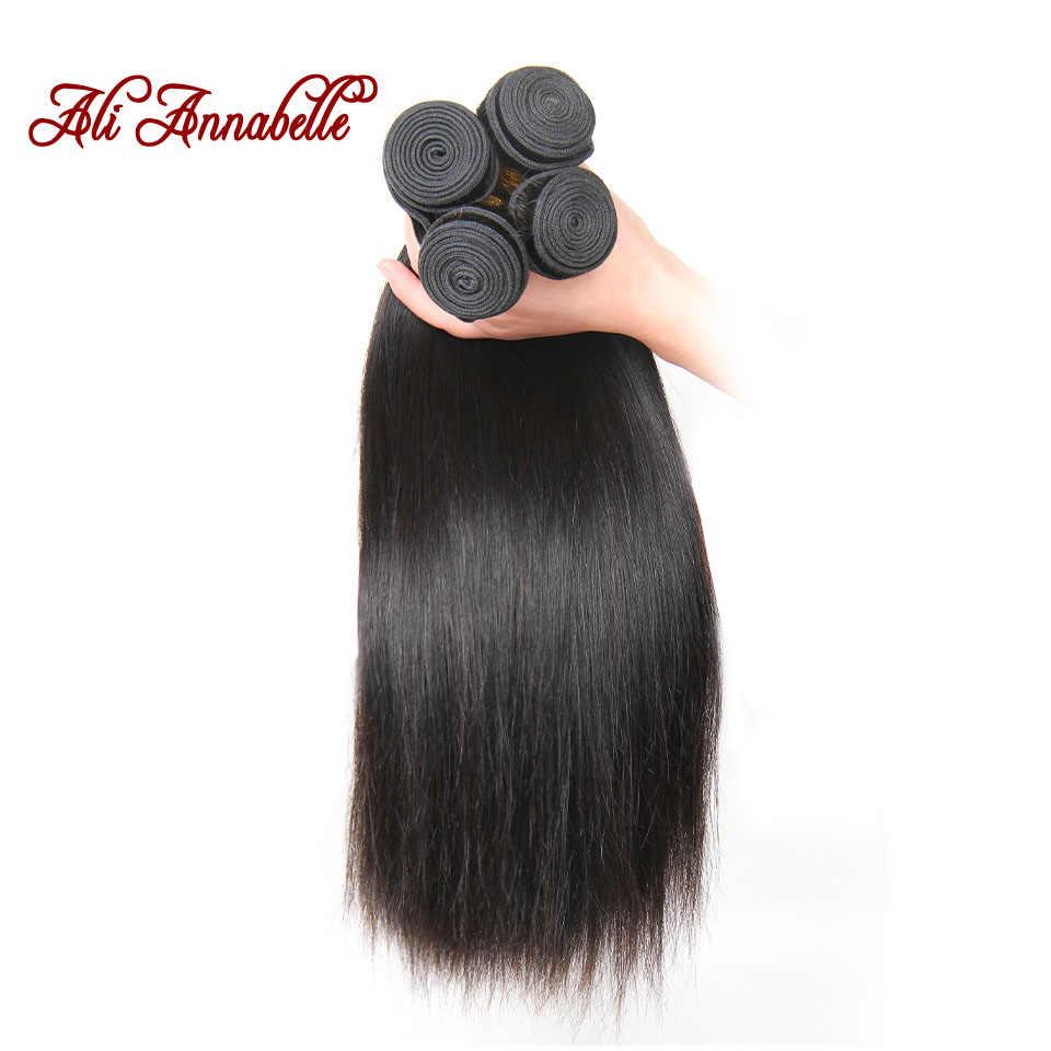 Paquetes de pelo humano Ali Anabelle extensión de cabello lacio malayo 100% cabello Remy tejido 3 paquetes de pelo lacio Color Natural