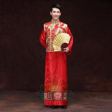 Groom tang suit chinese style wedding dress show mens groom  loaded long robe male costume clothing