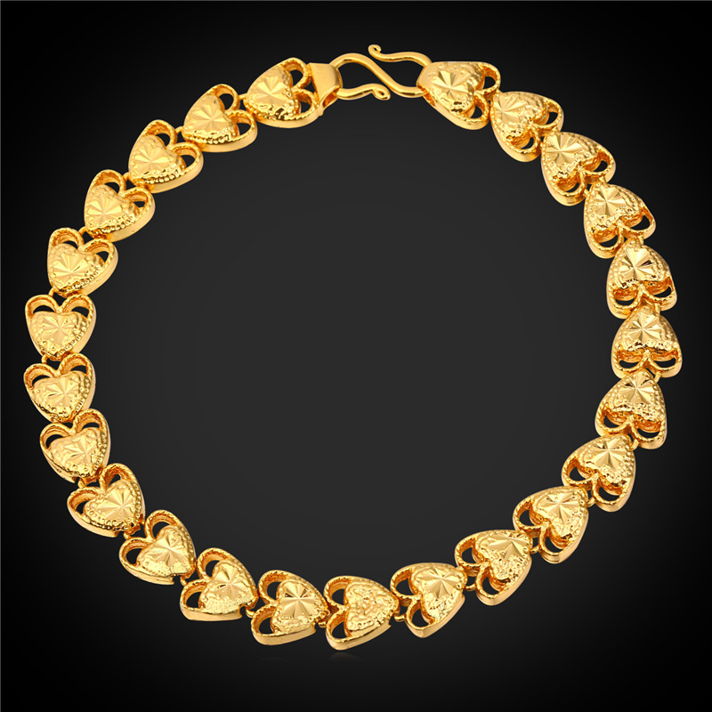 dbcce3edbbaa 2016 Día de San Valentín regalo para la esposa corazón pulseras mujeres  joyería mano cadena oro plata color pulsera H1564