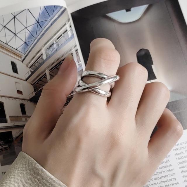 925 فضة اليدوية واسعة التفاف كابل الفرقة حلقة مذهلة غير المتماثلة الشرير كروس خواتم مفتوحة مصمم المجوهرات الأصلية