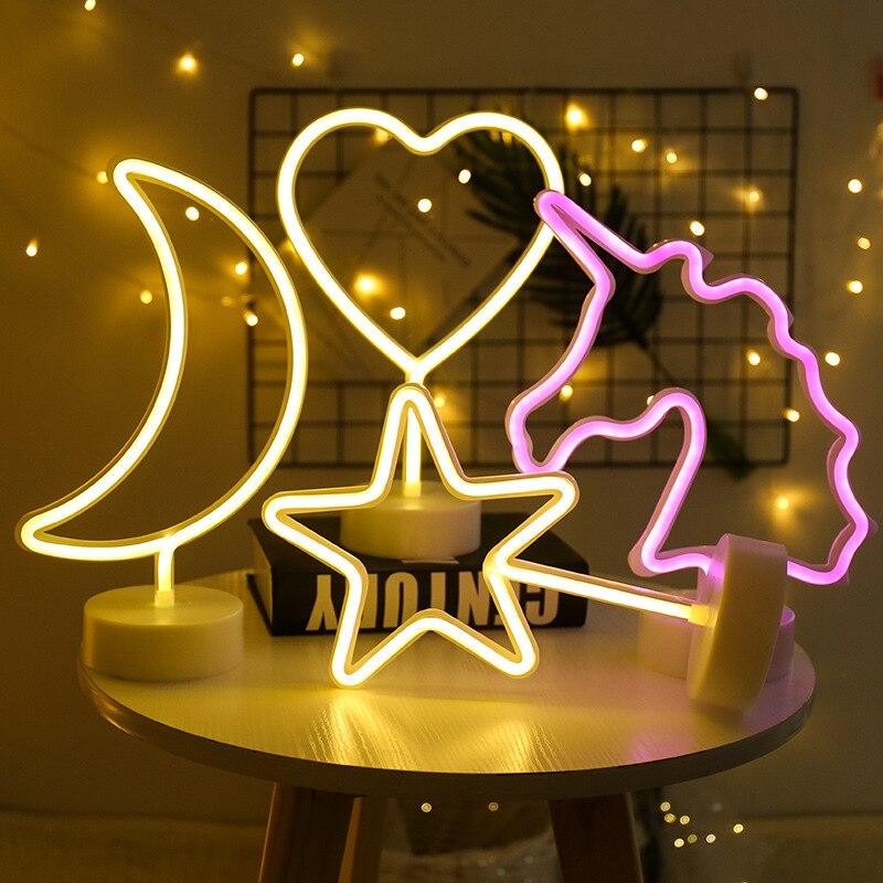 Decoración De Fiesta Luz De Noche De Neón Linda Estrella De La Luna Lightning Flamingo Forma Batería Usb Operado Lámpara De Neón Para Decoración De Vacaciones Embalaje De Marca Nominada