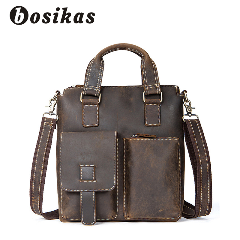 BOSIKAS New Crazy Horse Man Briefcase Genuine Leather Men Vintage Bags Messenger Bag Leather Men Business Briefcase Zipper Bags crazy horse genuine leather men bags vintage loptop business men s leather briefcase man bags men s messenger bag 2016 new 7205