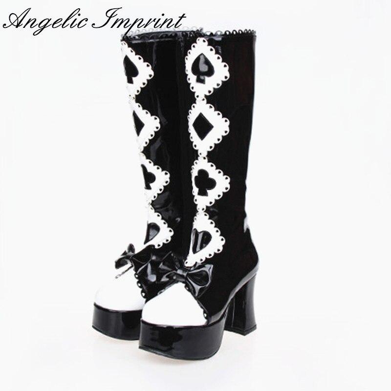 9e2635fd4 أليس في بلاد العجائب سلسلة الأسود والأبيض القوطية الملكة عالية الكعب منصة  لوليتا تأثيري أحذية عالية