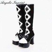 Alice in Wonderland Series Black and White Gothic Queen High Heel Platform