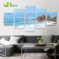 Large 5 Panel Painting Sea View Picture Oil Painting Modern Abstract Art Prints Ocean View Spray