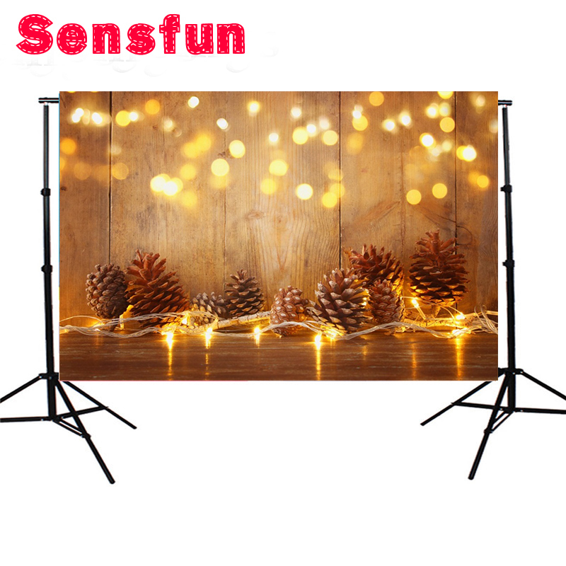 7x5ft Christams Pine Nuts Lights Bokeh Planks Photography Backgrounds Vinyl New Year Home Decor Backdrops For Photo Studio