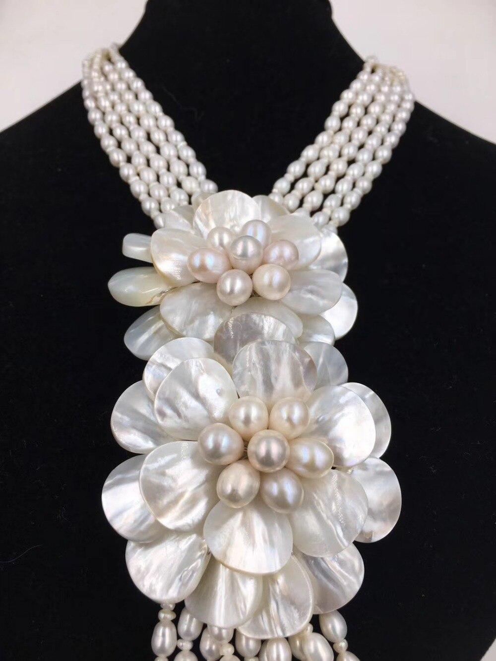 5 рядов пресноводный жемчуг Белый и Shell цветок ожерелье 21 дюйм природа 60 мм подарок барокко бисер оптом fppj