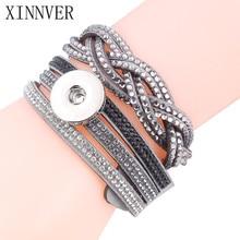 4 Colors Xinnver Snap Women s Multi layer Crystal Rivet Leather Bracelet Fit 18 20mm Metal