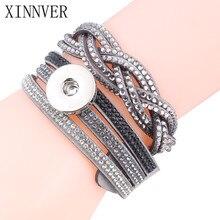 4 Colors Xinnver Snap Women's Multi-layer Crystal Rivet Leather Bracelet Fit 18/20mm Metal Snaps Button DIY Jewelry 39cm