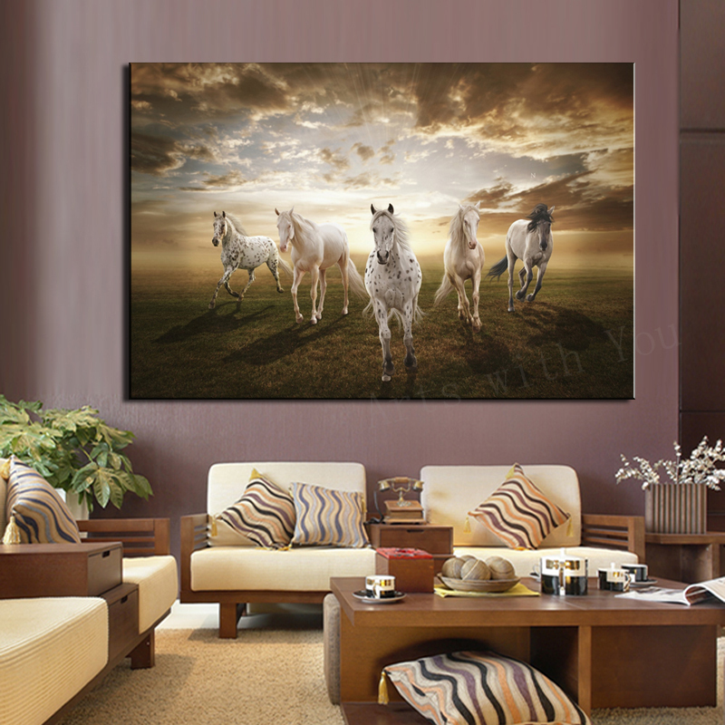 Equine Home Decor: 1 Pcs Home Decor Modular Picture Running White Horse