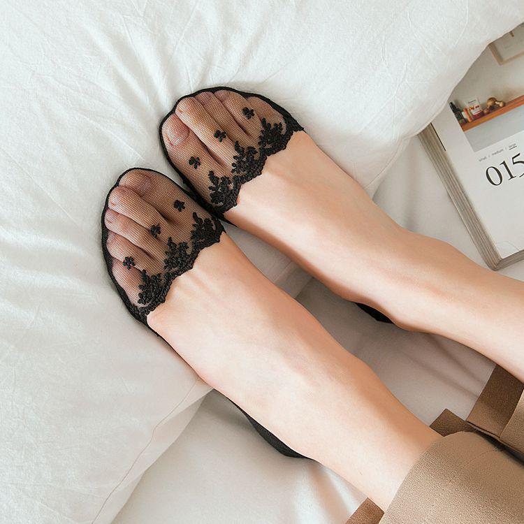 Women's Socks & Hosiery Sock Slippers Fashion Womens Socks Silicone Non-slip Trace Cute Solid Ice Silk Rose Flower Cotton Black Grey Flesh Without Return