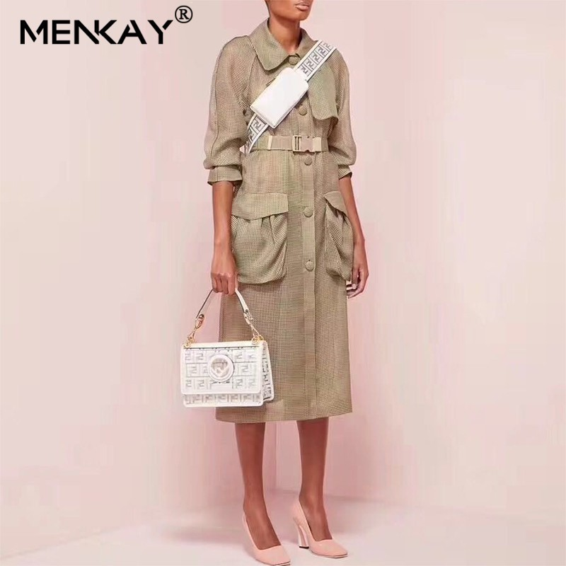 [MENKAY] Streetwear Plus Size Long Sleeve   Trench   Coat Belt Waisted Women Clothes 2019 Summer Korean Fashion Clothing New