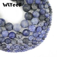 WLYee Matte Blue-vein Dull Polish Stone Sodalite Natural Round ball Loose beads 4/6/8/10/12 MM Jewelry bracelet making DIY
