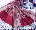 Borgonha estilo coreano da mulher algodão Pashmina Hijab borlas cachecol xales Jacquard envoltório flor cachecol 172 x 68 cm WS101