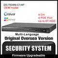 Oem ds-7604ni-e1/4 p hikvision inglés versión 6mp 4poe nvr p2p 4ch vga hdmi grabador de vídeo cctv onvif h.264 cámara de seguridad hik