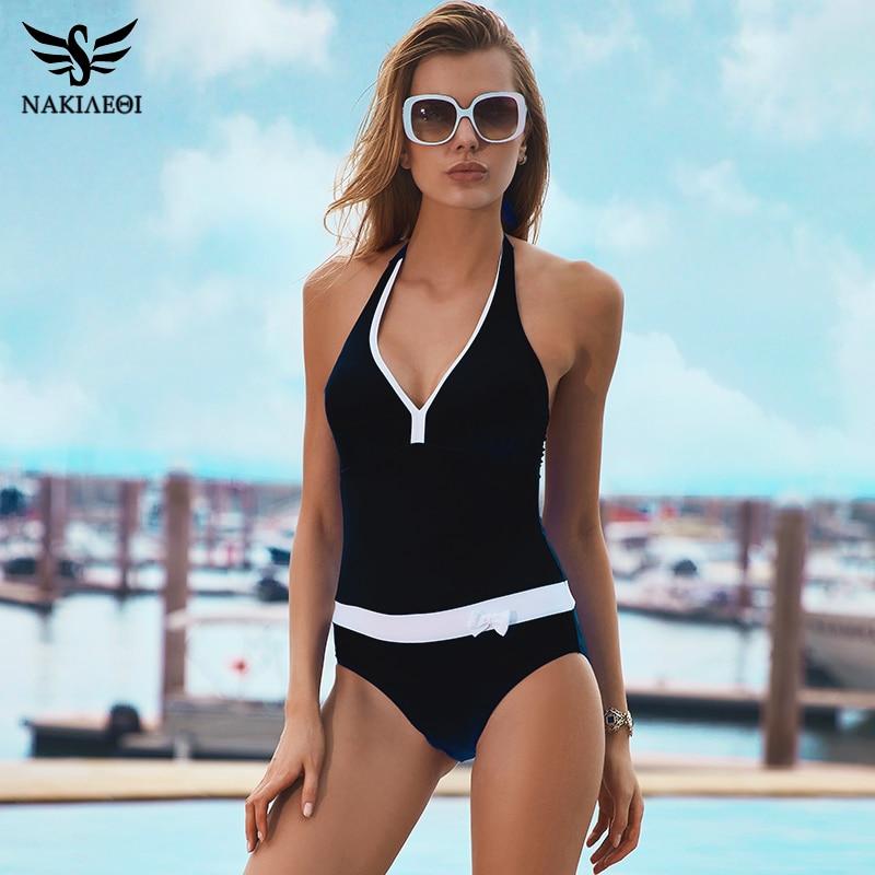 NAKIAEOI 2018 New One Piece Swimsuit Women Vintage Bathing Suits Halter Plus Size Swimwear Sexy Monokini Summer Beach Wear Swim