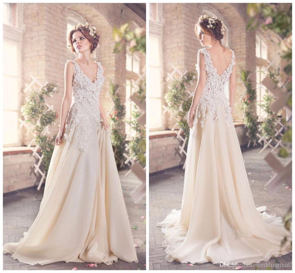 Wedding Dressing Gowns Personalised: Lace Backless Chiffon A Line Wedding Dresses 2016 Custom