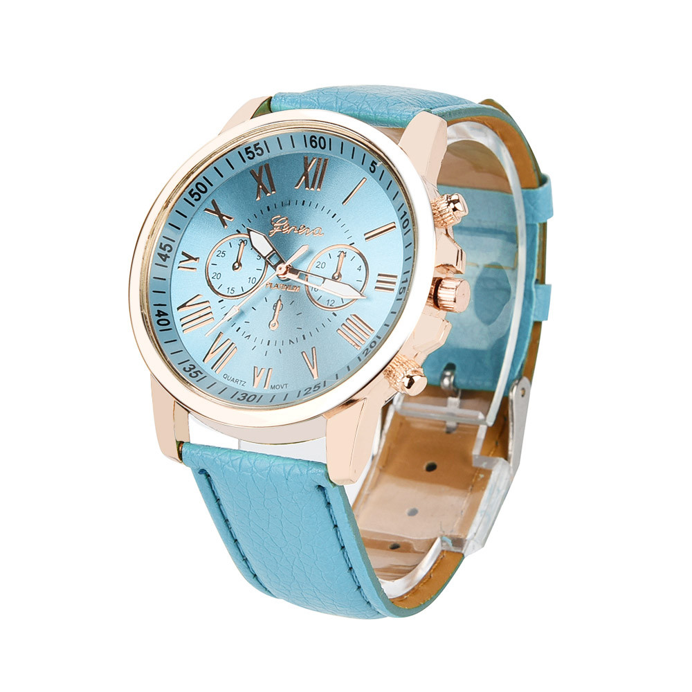 Women Watches Luxury Leather 2020 Fashion Geneva Brand Watch Women Geneva Roman Numerals Faux Leather Analog Quartz Watch Z70