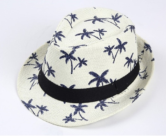 2017 Summer New Parent-Child Print Straw Jazz Hat With Band Beach Printing  Panama Hats Trilby Cap Fedora For Man Women And Kids 825eaffba84a