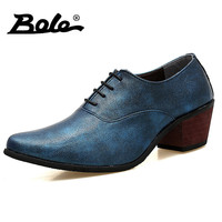 BOLE New Handmade Leather Men Dress Shoes Fashion Lace Up 5 Cm High Heel Groom Wedding